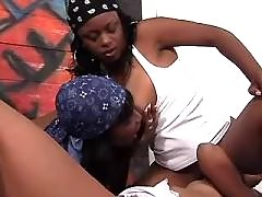 Beautiful lesbo lady caresses chick