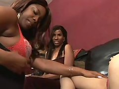 Sweet cute black lesbians sex up on sofa