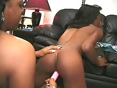 black lesbian gets dildofuck in all holes